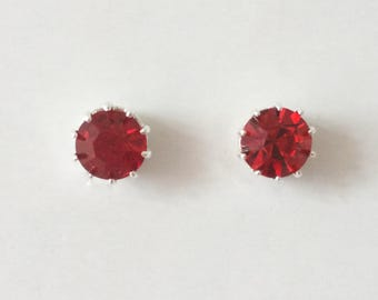 Vintage 1980's Round Faceted Blood Red Glass Claw Bezel Stud Statement Earrings
