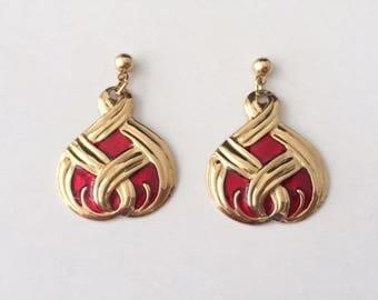 Vintage 1950's Gold Plated Red Enamel Dangle Drop Earrings