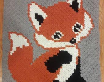 Fox baby blanket, crochet blanket, baby blanket, crochet fox, fox blanket, corner to corner blanket, baby afghan, fox afghan, graphgan