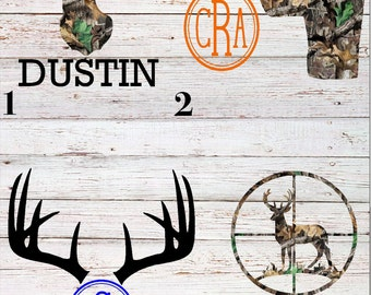 Custom Hunting Deer Antler Decal Yeti / RTIC / Ozark/ Corksicle / Cup / Monogram / Camo / Men / Gift
