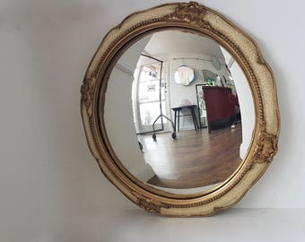 Cream & Gold Convex Mirror