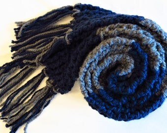 Ravenclaw Scarf-Harry Potter Inspired Ribbed Crochet Scarf Blue and Charcoal Striped Scarf
