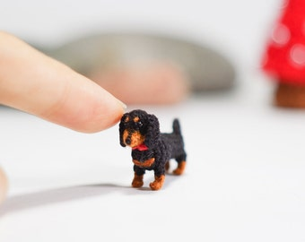Miniature Black and tan Dachshund dog - Tiny amigurumi crochet animal
