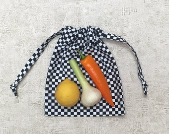 smallbags canvas checkerboard black and white - 2 sizes - cotton bags - zero waste
