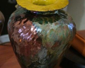 Raku Coil Pot Vase with Reduction Glaze
