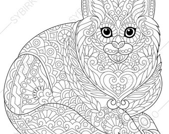 Cat Kitten Adult Coloring Book Page. Zentangle Doodle Coloring Pages for Adults. Digital illustration. Instant Download Print.