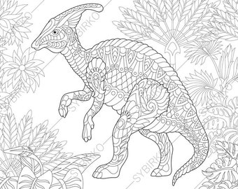 Dinosaur Velociraptor Adult Coloring Book Page Zentangle