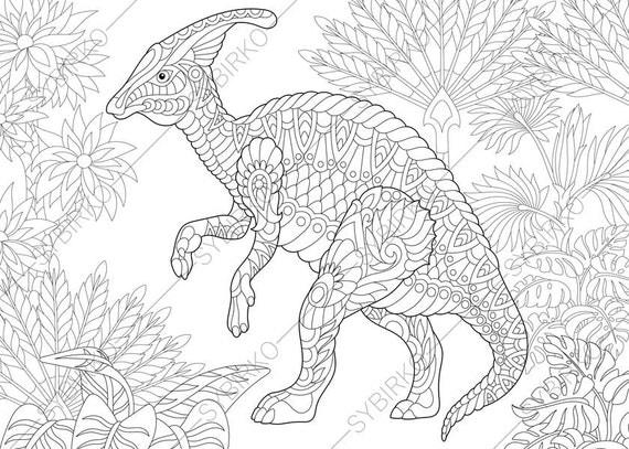Adult Coloring Pages. Dinosaur Hadrosaur. Zentangle Doodle