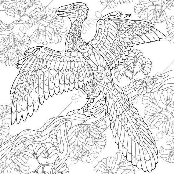 Archeopteryx Dinosaur. Dino Coloring Pages. Animal coloring