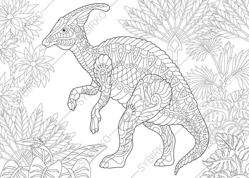 Adult Coloring Pages Dinosaur Hadrosaur Zentangle Doodle For Adults Digital Illustration