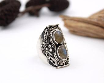 Boho Labradorite - Ring S. US 7.25 - Sterling Silver 925 - Boho Green Labradorite - Protection