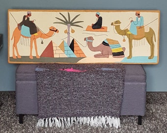 Vintage, Hand Appliqued & Embroidered  Fiber / TextileWall Art. Mystic Desert Rainbow Pyramids and Flying Carpets.