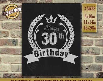 30th Birthday Gift, 30th Birthday Party Decor, Birthday Sign, Birthday Sign Chalkboard Poster, Printable Birthday DIGITAL FILE Only JPG