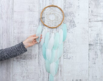 Long Mint Feather Dreamcatcher - Color Choice - Boho Girls Boys DreamCatcher Wall Hanging Baby Tribal Crib Baby Feathers New Baby nursery