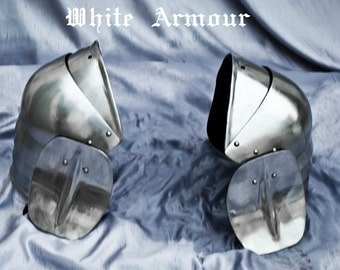 Pauldrons basic combat armor with small besagews   SCA  LARP armor pauldrons spaulders SCA armor larp armor Fantasy armor stell armor
