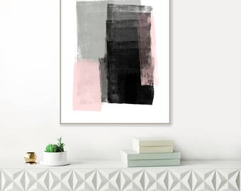 Pink and Grey Abstract Art, Large Minimalist Painting, Printable Minimal Art, Minimalist Modern Art, Original Wall Art