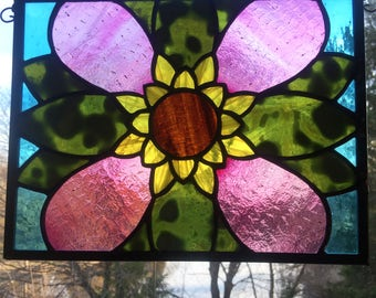 Pink Flower Stained Glass Window, Sun catcher, Zelda Majora's Mask Deku Flower