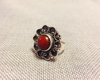 Sterling Silver Ring Handmade in Egypt with Red-Brown Resin Stone