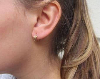 Small hoop earrings, Minimalist earrings, Geometric earrings, Triangle earrings, Simple silver hoop earrings, gold hoops, tiny earrings hoop