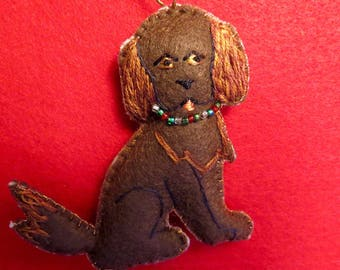 Felt Brown Dog Ornament
