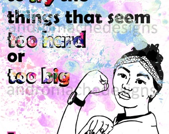 Watercolor Feminism Downloadable Poster (Rosie the Riveter)