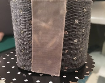 Blue/sparkle polka dot fabric cuff bracelet