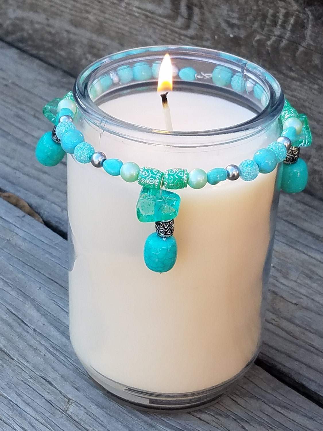 turquoise candle ring rustic home decor country decor. Black Bedroom Furniture Sets. Home Design Ideas