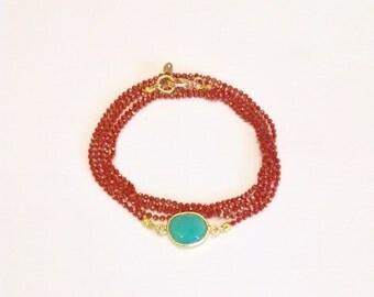 Multirangs ras bracelet Coralie and green