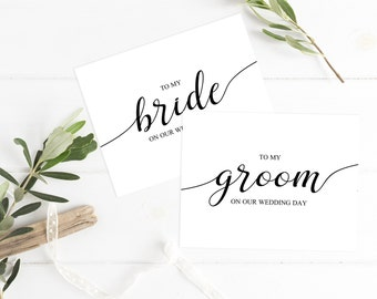 To my Bride on our Wedding Day Card Sets To my Groom on Our Wedding Day Groom Gift to Bride Husband to Be Gift Bride Gift from Groom Card