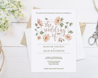 Whimsical Wedding Invitation Template Download Blush Pink Wedding Invitations Floral Wedding Invitation Printable Romantic Wedding Invites