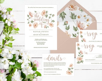 Wedding Invitation Template Floral Wedding Invitation Template Set Blush Wedding Invite Template Download Greenery Wedding Invitation Kit