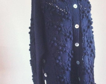 Hand Knitted Aran Style Theresa Cardigan Cardigan in Navy
