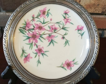 RESERVED! Vintage Sterling Rim Display Plate in Peachtree by Lenox