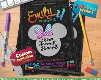 Custom Invitation Invitation, Custom Invitation Birthday Party, Custom Order, Editable, Personalized, Printable, Chalkboard, Digital File