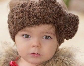 Crochet - Headband - Earwarmer - Bow - Handmade - Be Strong - Boutique