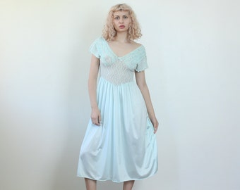 Vintage Blue Slip Dress // 60s Lingerie Knee Length Sheer Lace 70s Nightgown - Medium to Large
