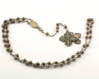 Vintage 1830 Catholic Maria Miraculous Cross Crucifix Necklace 925 Sterling Silver NC 256-E
