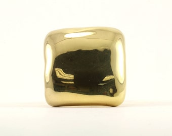 Vintage Women's Gold Tone Square Shape Mirror Ring 925 Sterling Silver RG 1359-E