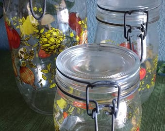 Set of 3 vintage glass canisters made in France.
