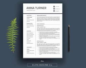 Professional Resume Template/Creative CV Template + Cover Letter + References | Instant Digital Download | Nurse/Medical/Marketing Template