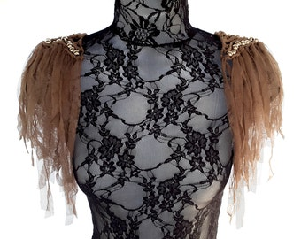 Fringed shoulder epaulettes. Shoulder jewelry. Tawny brown ethereal tulle fringed beaded shoulder epaulets.