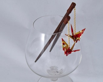 Hairpins with origami-cranes