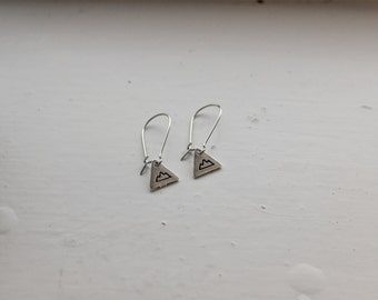 Tiny Hanging Mountain Triangle Earrings