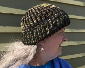 Camouflage and Black Brioche hat double thick extra warm