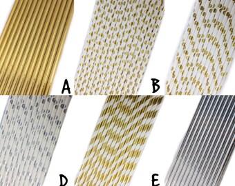 Metallic Cake Pop Sticks/ Paper Straws (Striped, Hearts, Solid, Polka Dots), 25 pcs