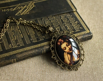 Doll necklace, mystical jewelry, gothic necklace, victorian necklace, bronze necklace, picture necklace, glass necklace, gift for friend