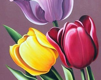 Tulip Cross Stitch Pattern-Printable Tulips Pattern-Digital Tulips Prints-PDF File