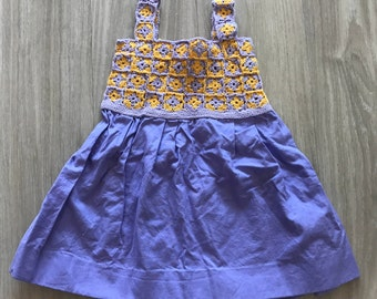Cotton dress with crocheted top for baby girl