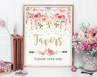 Favors Sign. Pink Gold Floral Boho Bridal Shower Printable Sign. Bohemian Feathers. Confetti Table Decor. Favors Please Take One. FLO12A