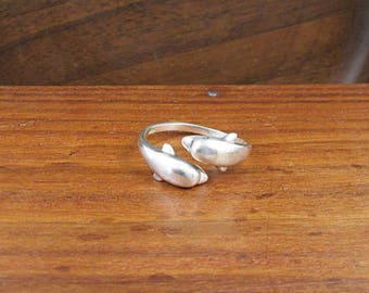 925 Sterling Dolphin Ring - Size 9.25